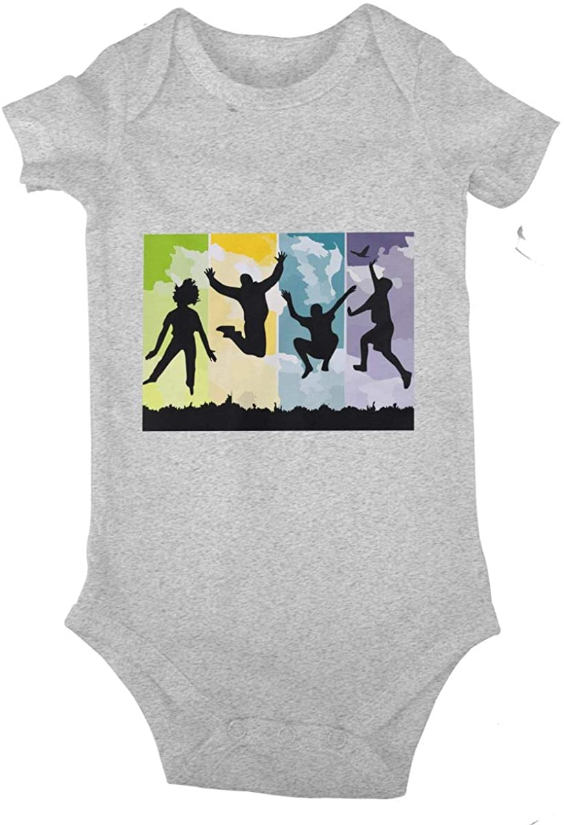 Freedom,Jump Silhouettes Cotton Baby Short Sleeve Bodysuits Jersey Rompers