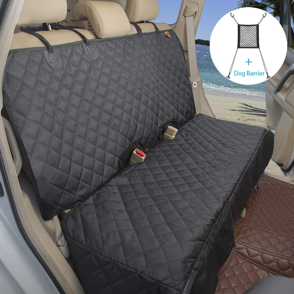 Bark Lover Deluxe Dog Seat Cover for Back Seat-More Durable Waterproof Backseat Protector, High Heat Resistant and Nonslip Back Seat Cover for Dogs Kids, Universal Size Fits Cars, Trucks, SUVs