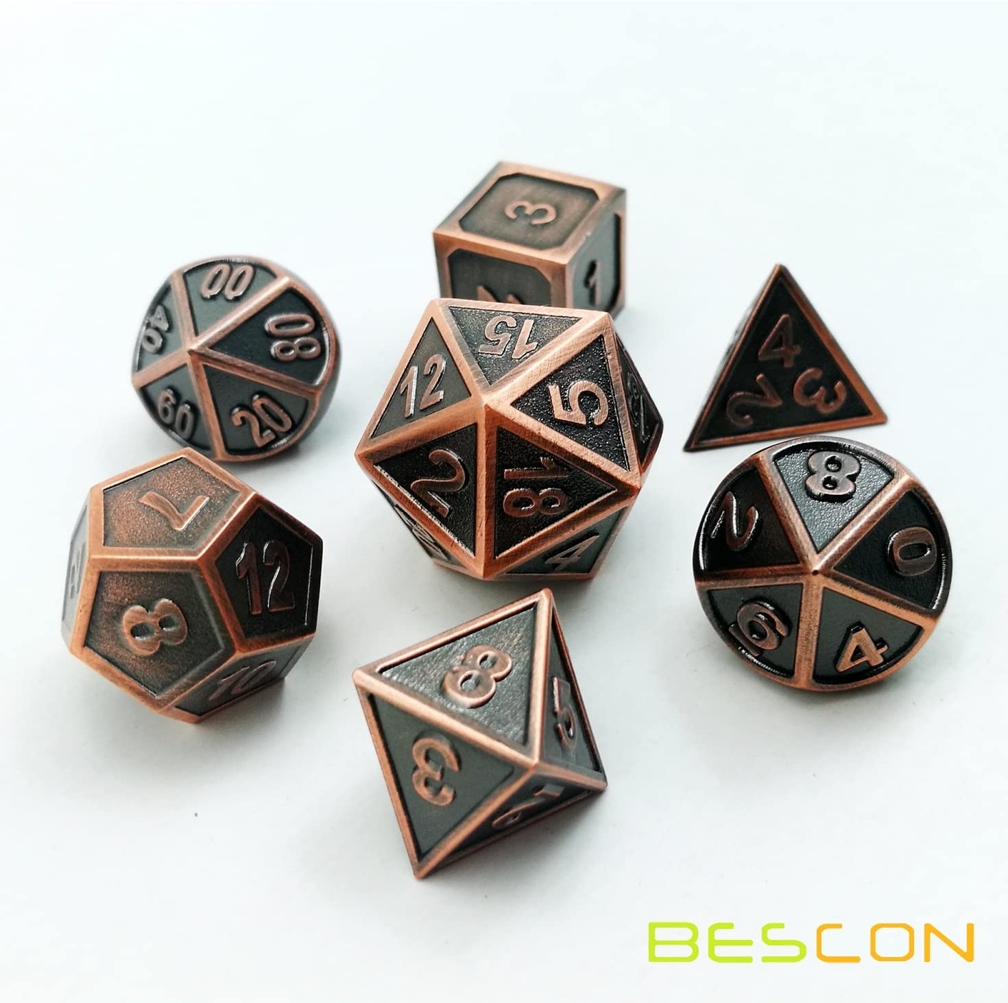 Bescon Copper Solid Metal Polyhedral D&D Dice Set of 7 Copper Metallic RPG Role Playing Game Dice 7pcs Set D4-D20