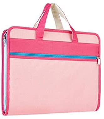 YINZHI School Supply Creative Organ Multi-Layer Clip Oxford Cloth A4 Portable Zipper Briefcase(Blue) (Color : Pink)