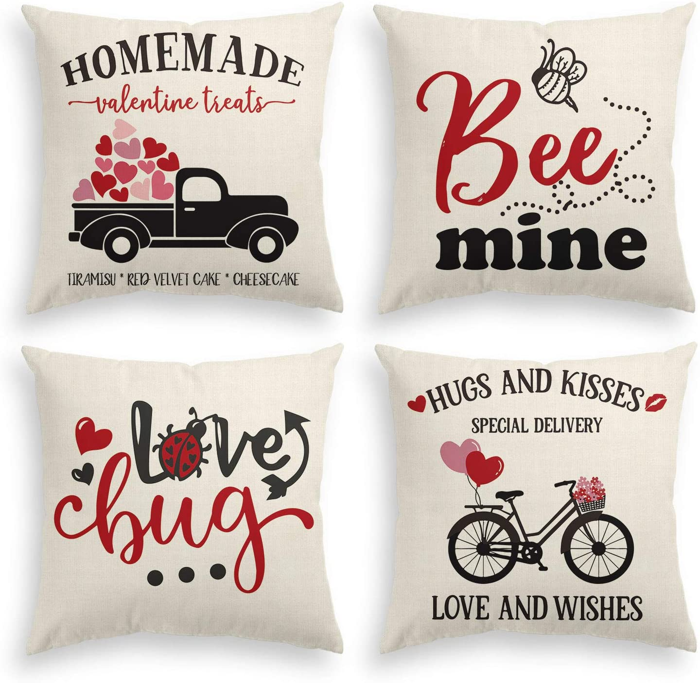 AVOIN Valentines Day Throw Pillow Cover, 18 x 18 Inch Truck Love Heart Bee Lovebug Bicycle Cushion Case for Sofa Couch Set of 4