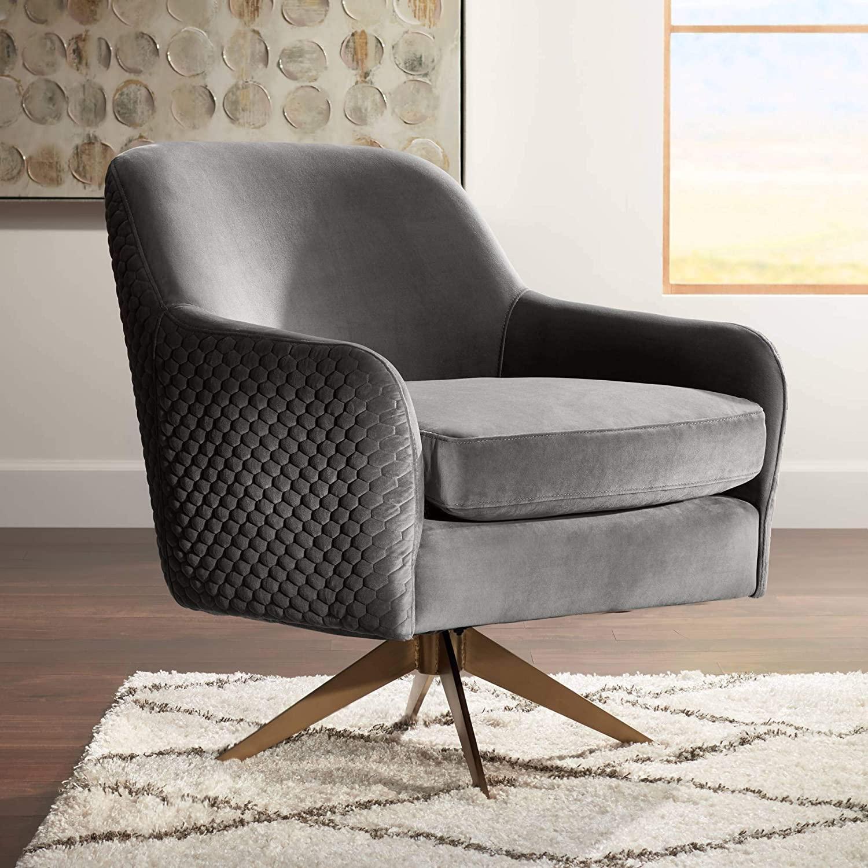 Ames Quilted Gray Velvet Swivel Chair - Studio 55D