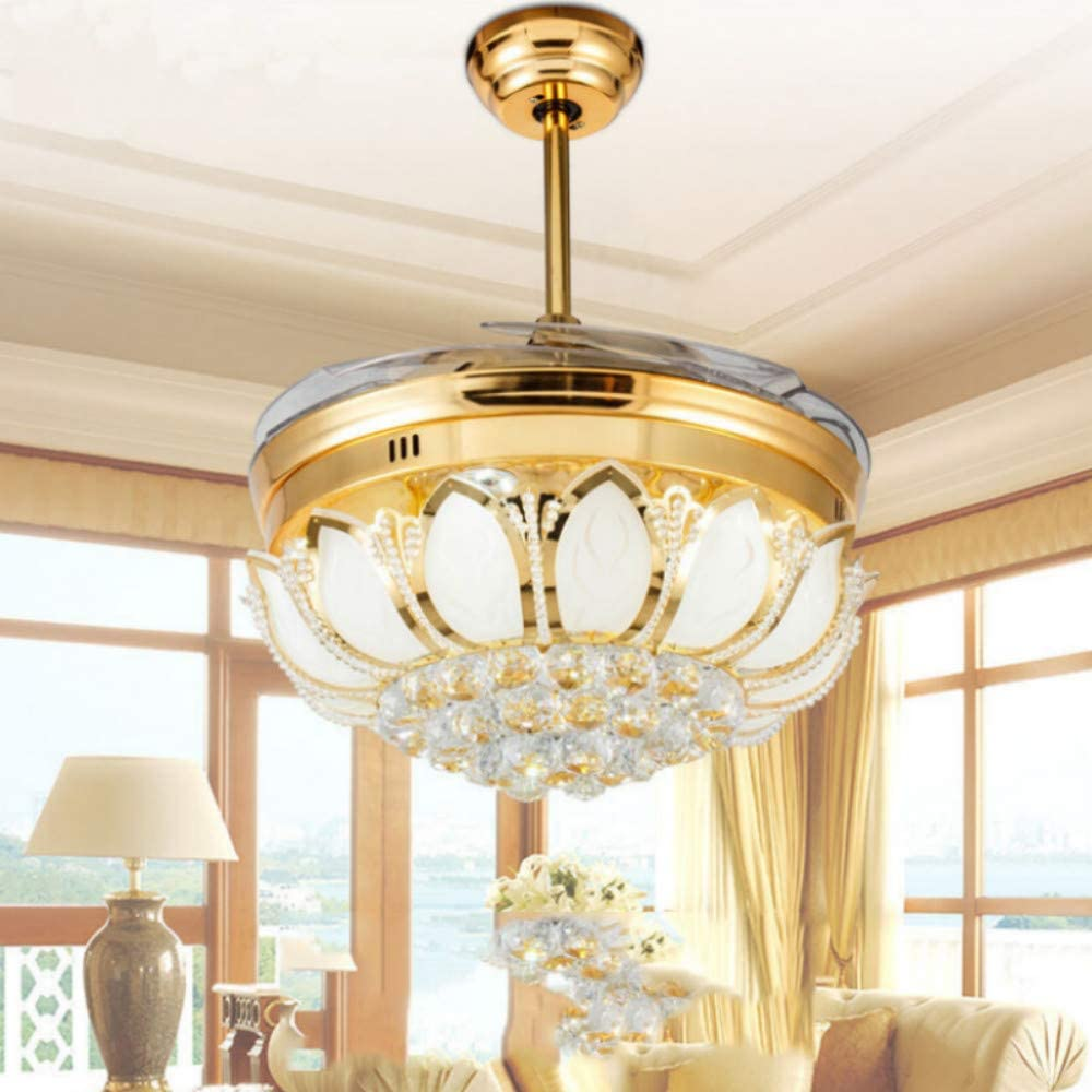 Lighting Groups Retractable Ceiling Fan Light-42 Inch Modern Invisible Ceiling Fan Led Light And Remote Control 3 Light for Living Room Bedroom Dinningroom Fan Ceiling Chandeliers (Gold)