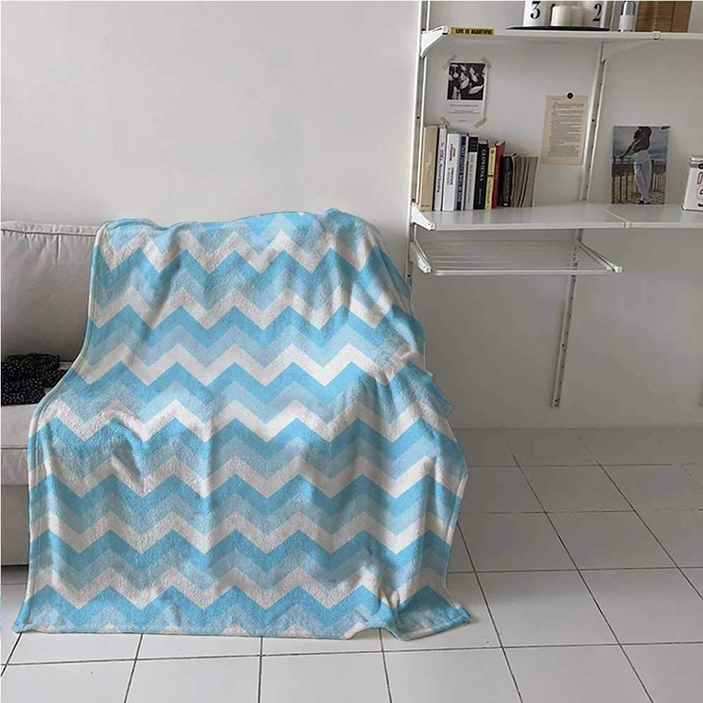 painting-home Breathable Blanket Zigzag Pattern Sea Aqua Colors Classic Antique Artwork Illustration Luxury Bed Blanket Microfiber for Kid Baby Toddler Teenager Baby Blue Pale Blue White 70 x 90 Inch