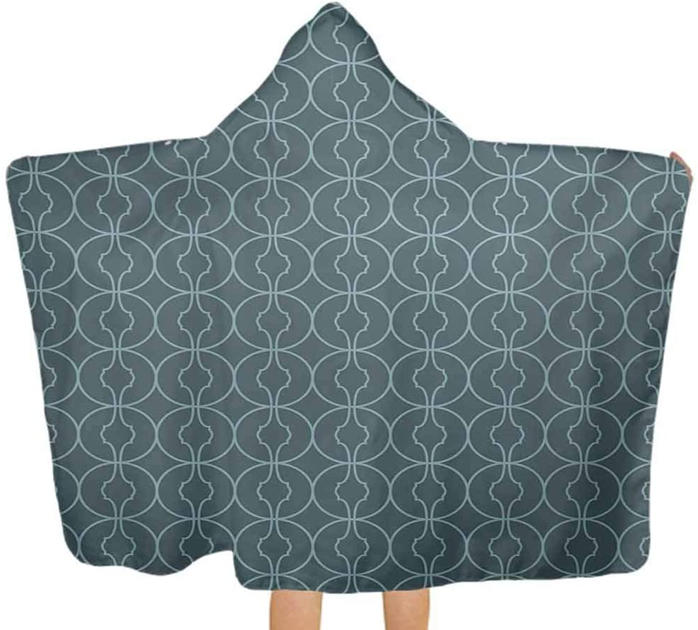 ThinkingPower Baby Hooded Towel Moroccan Style Geometric Rounds Oriental Edged Inner Shapes Image Hypoallergenic Baby Towels Safe, Ultra Soft & Super Absorbent Pale Blue and Blue Grey 51.5x31.8 Inch