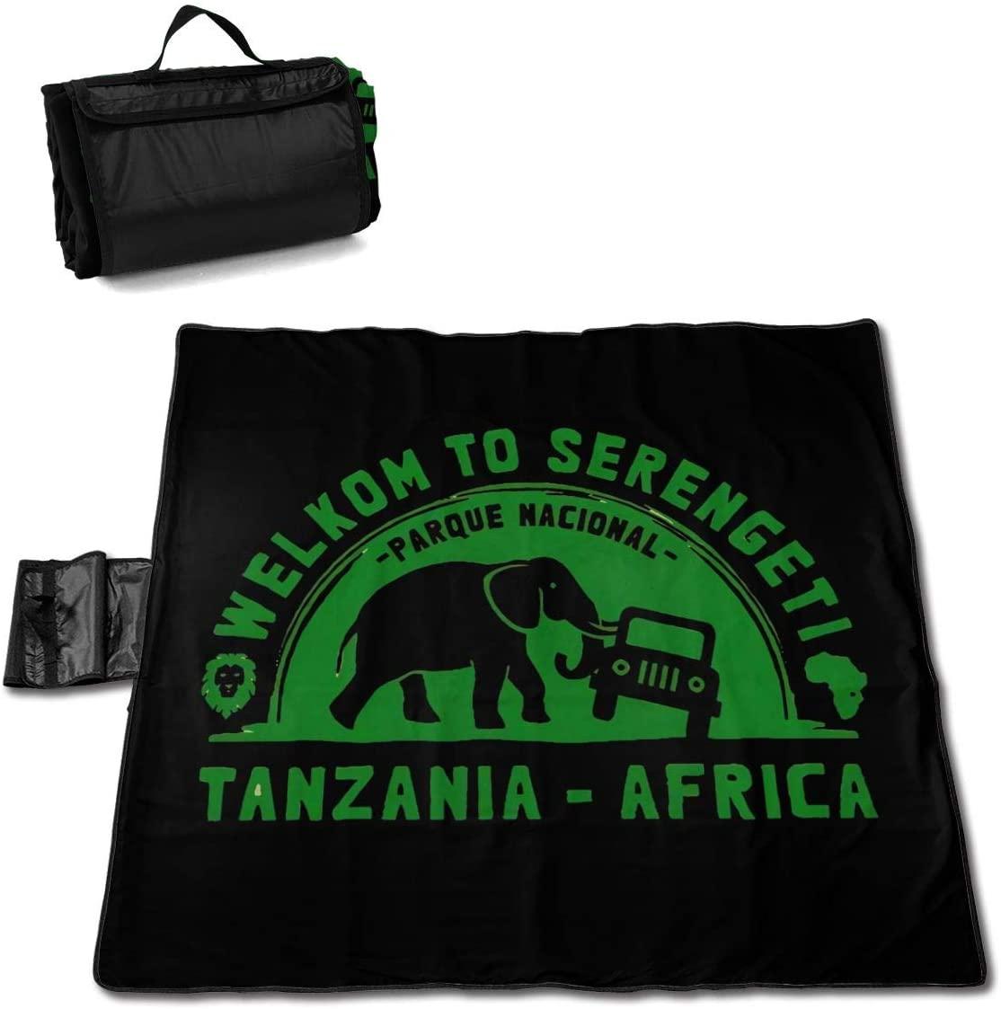 Kelo Serengeti National Park Portable Printed Picnic Blanket Waterproof 59x57(in)
