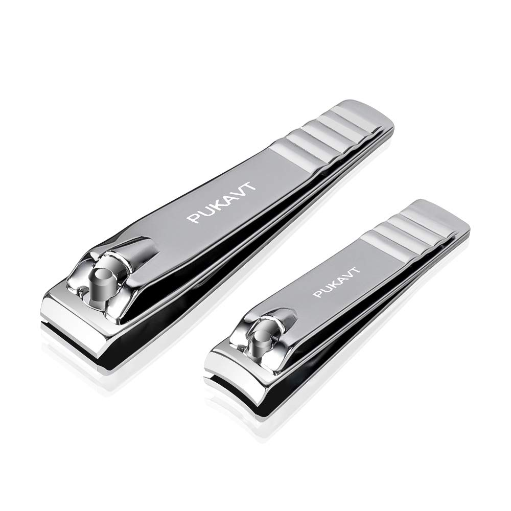 Nail Clippers Set Professional Stainless Steel Sharp Sturdy Fingernail & Toenail Clippers Cutters(2Pcs)