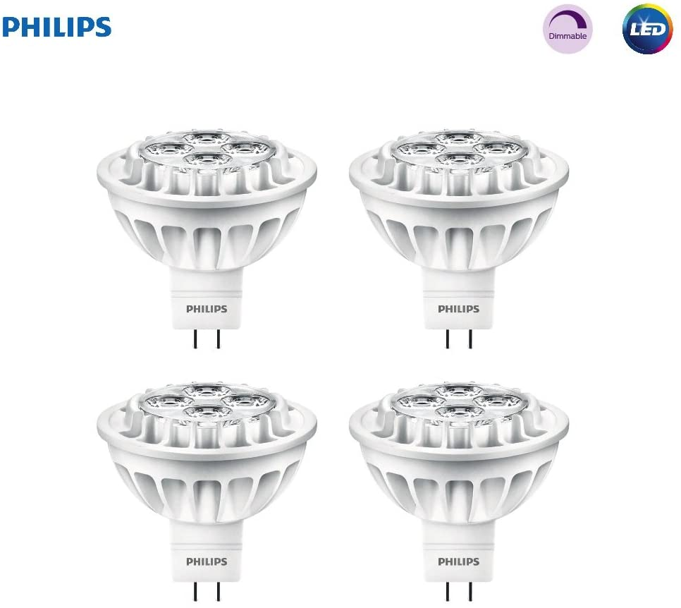 Philips LED 461509 Bright White 50 Watt Equivalent MR16 LED Light Bulb, 4 Pack, 4-Pack