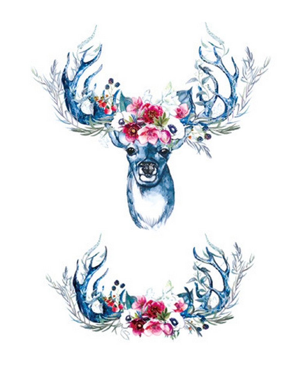 5 Sheets Premium Temporary Tattoo - Unisex Waterproof Small Deer Flower Tattoo Sticker Removable Safe Realistic Fake Art Decal Wrist Arm Body Temporary Tattoo Sticker For Adults Kids Teens