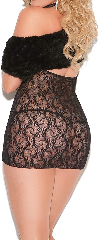 Plus Size Black Lace Cupless Lingerie Dress