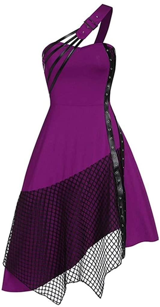 GLVSZ Womens Victorian Medieval Dress Off Shoulder Asymmetric Lace up Gothic Vintage Corset Dress Peasant Tops
