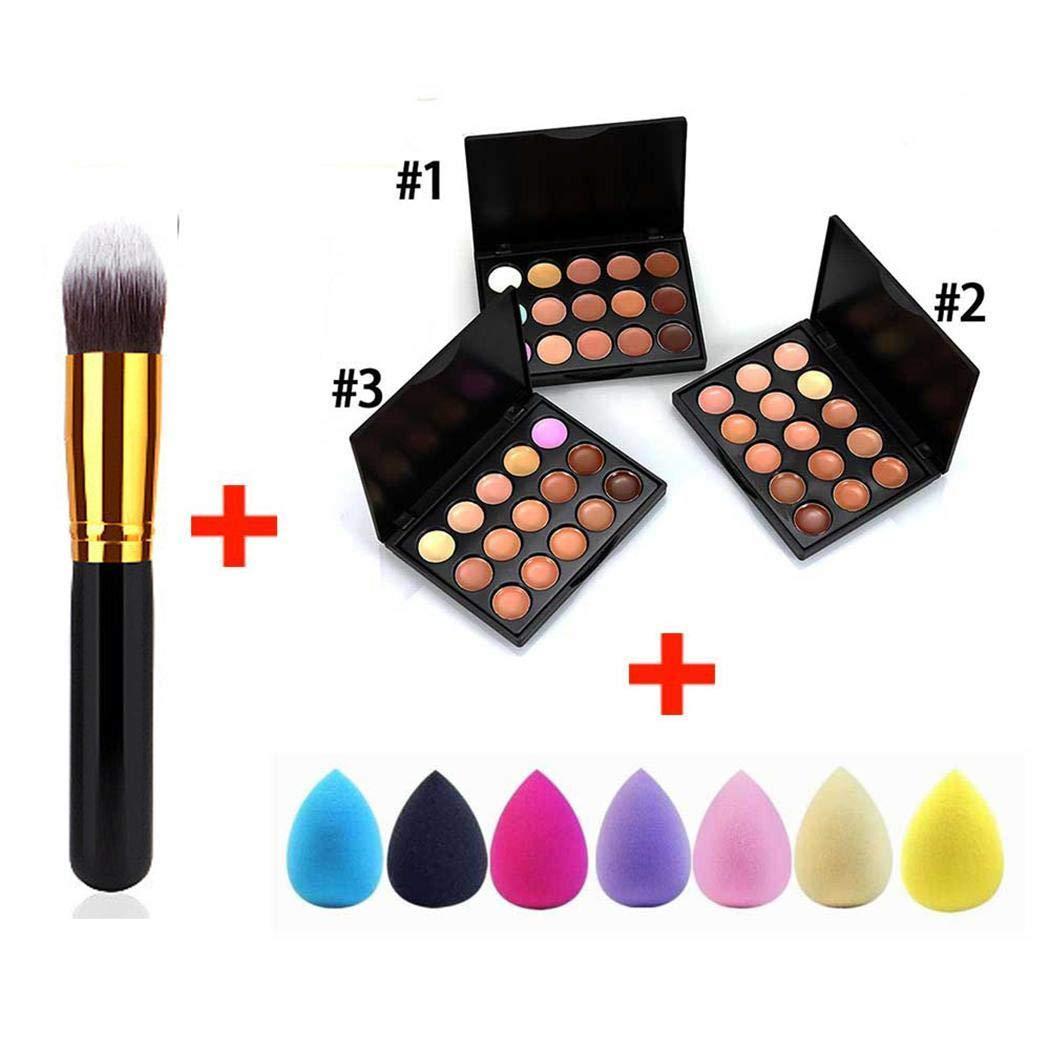 Kigin 15 Colors Concealer Palette Facial Cream Makeup Brush Drop Puff Set Makeup Sets
