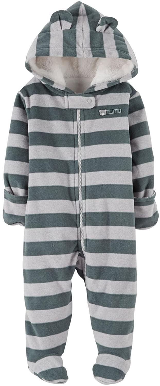 Carter's Baby Boys' Striped Fleece Pram (Baby) Gray