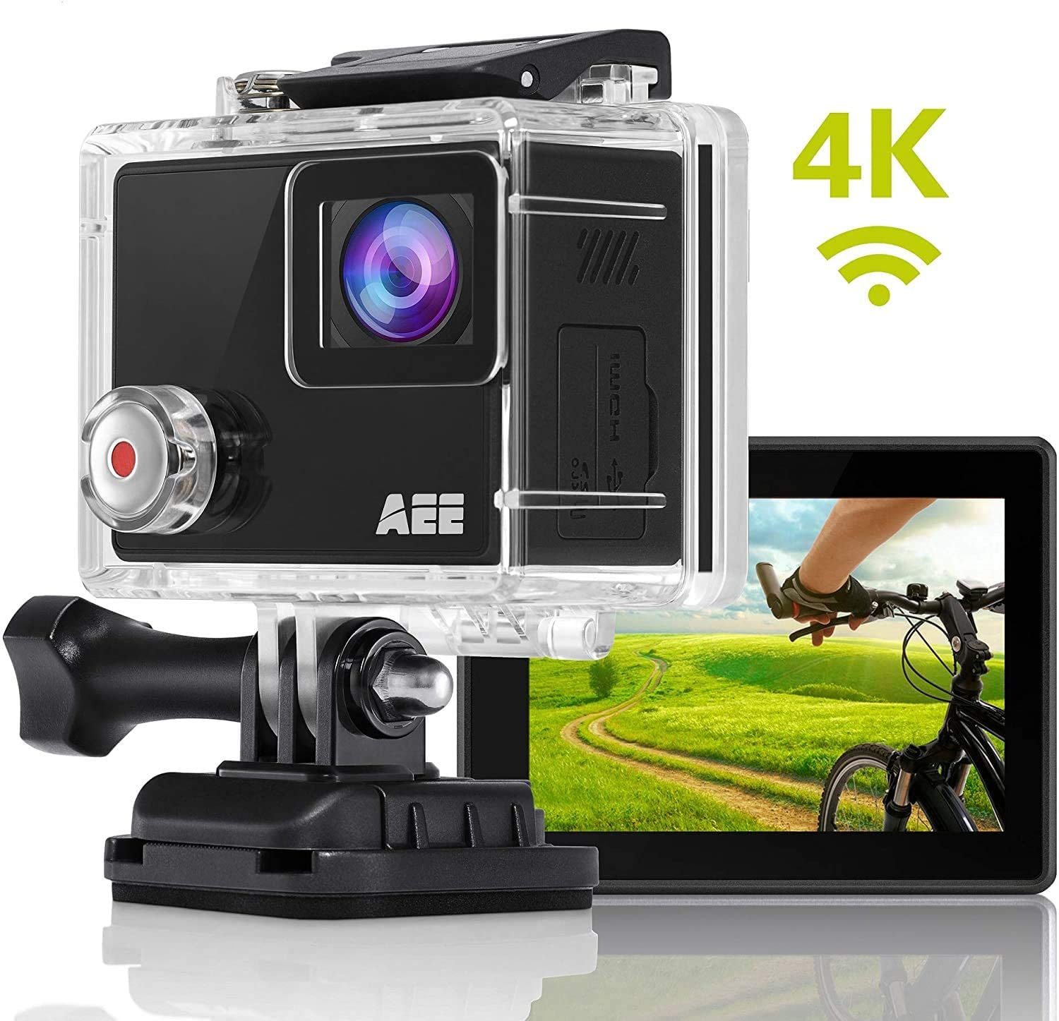 AEE Shadow Action Camera 4K 1080P HD 16MP with Touch Screen, 140° Wide Angle Lens with 4X Digital Zoom, 40m Portable Underwater Waterproof Sports Camera, 64GB Storage and Mounting Accessories Kit