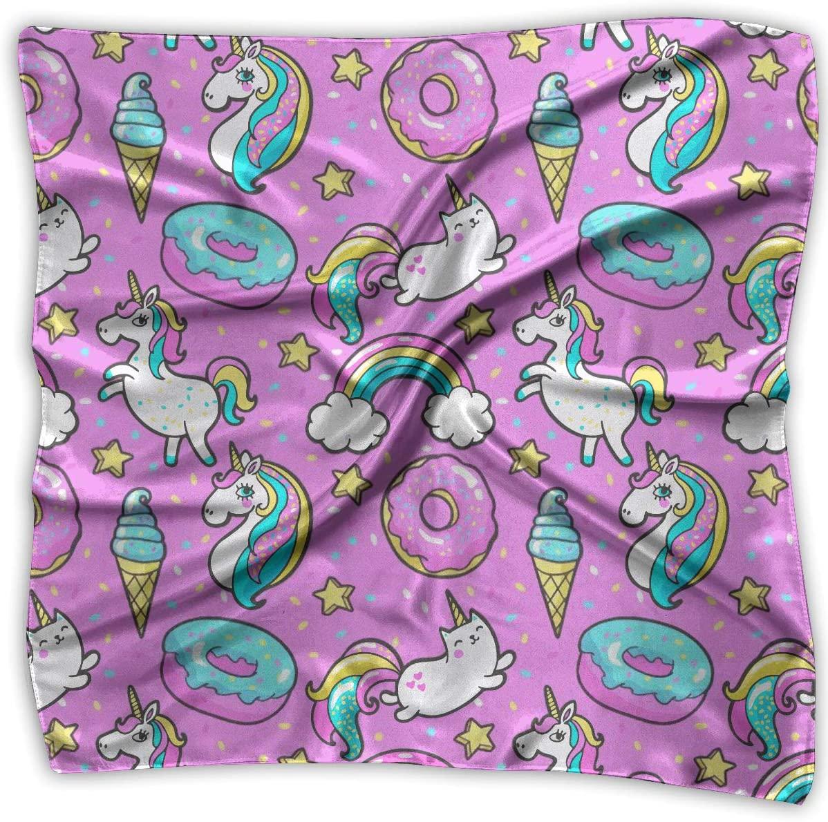 WFIRE Cute Unicorn Square Handkerchiefs Scarf Shawl Bandanas Headscarf Neckerchief Tie Hair Scarf