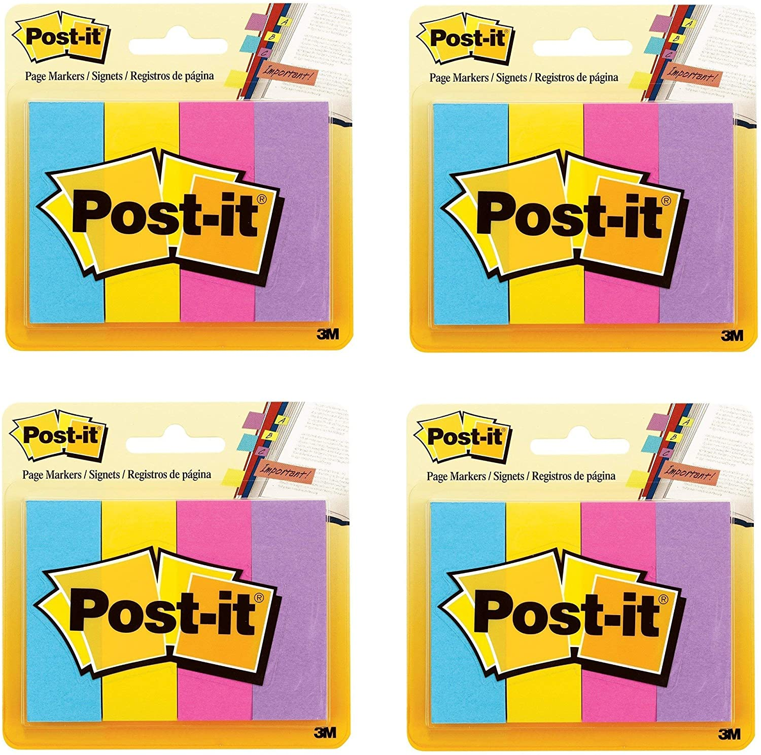 Post-it Page Markers, Assorted Ultra Colors, 1 x 3-Inches, 50-Sheets/Pad, 4-Pads/Pack (4)