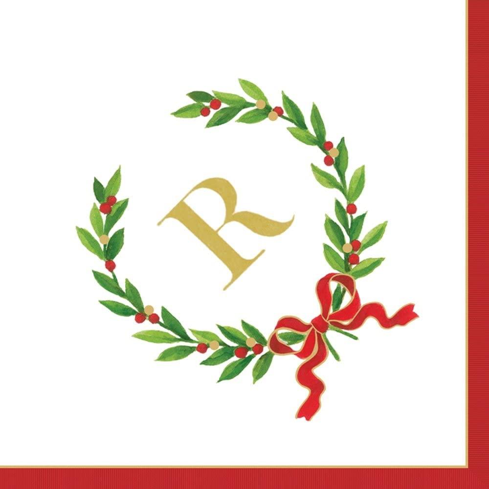 Entertaining with Caspari Christmas Laurel Wreath Monogram Initial R Paper Cocktail Napkins, Pack of 20