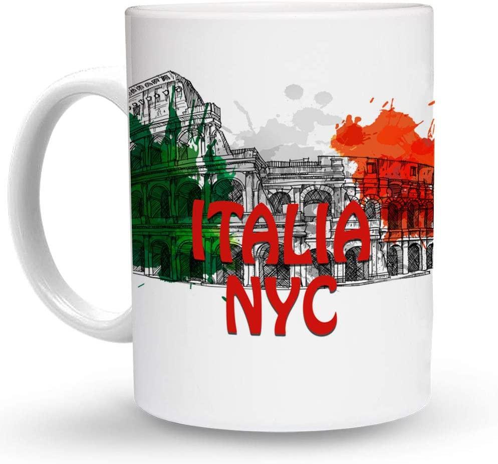Makoroni - ITALIA NYC Italy Flag 6 oz Ceramic Espresso Shot Mug/Cup Design#80