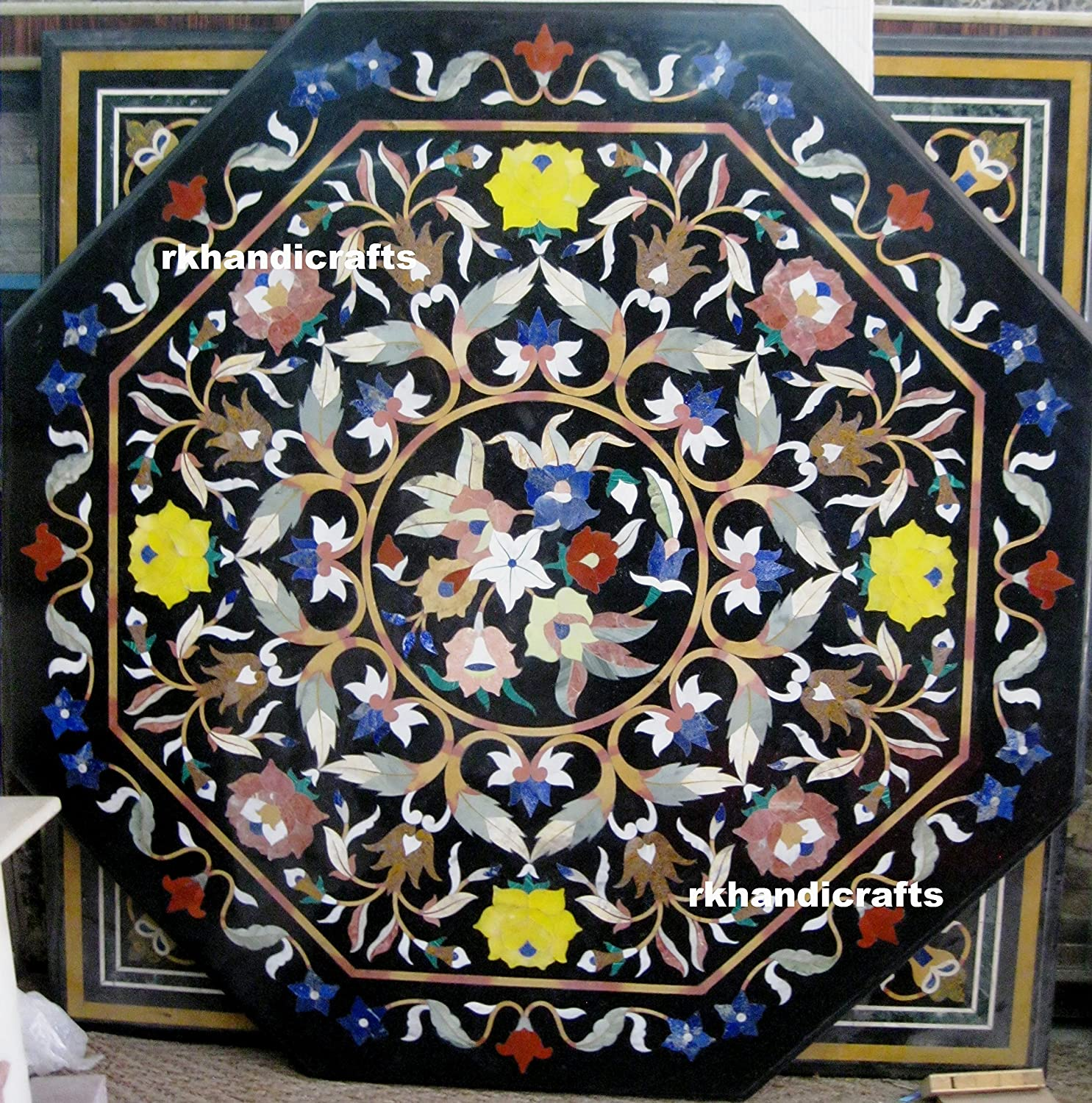 48 Inches Indian Black Marble Patio Dining Table Top,Sofa Table Top Pietra Dura Art, Handmade in India