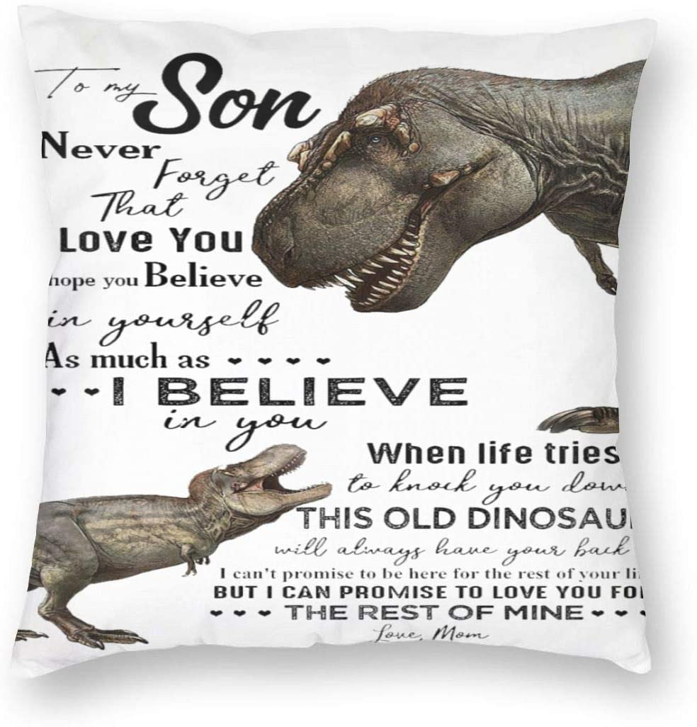 WONDERWON Square Throw Pillow Case Dinosaurs Mom to My Son Never Forget I Love You Cushion Covers Art Decor for Office Couch Sofa Car Bedroom 22