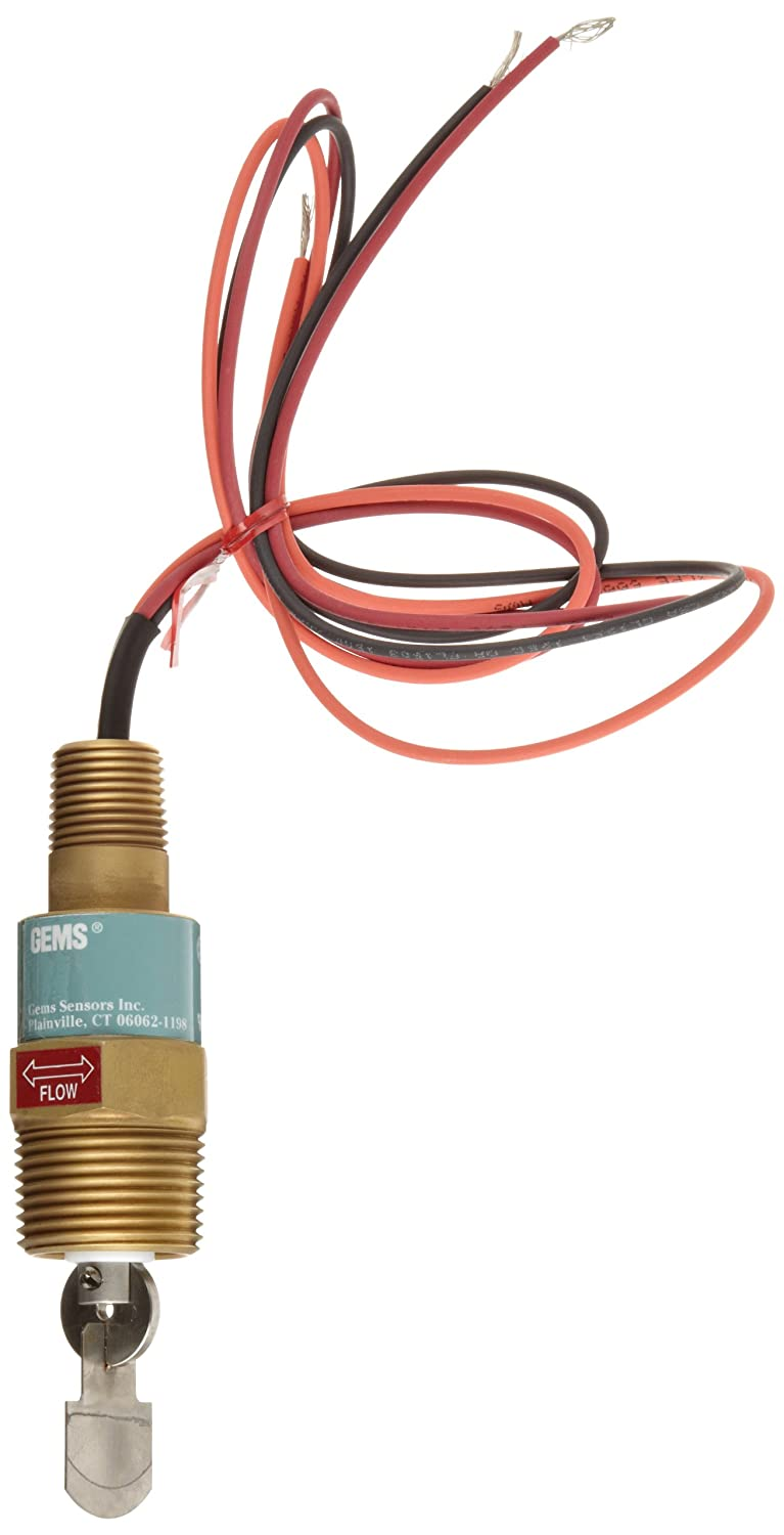 Gems Sensors FS-550 Series Brass High Pressure Flow Switch, Paddle Type, 15.0-52.0 gpm Flow Setting Adjustment Range, 1