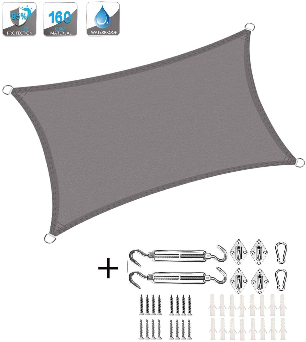 XXJF Sun Shade PermeableuvBlockSunshadeWaterproof Sail Canopy Awning SunshadeFabricPESPolyester forPatioGardenBackyardpergola (Color : Gray, Size : 5x7.5m)