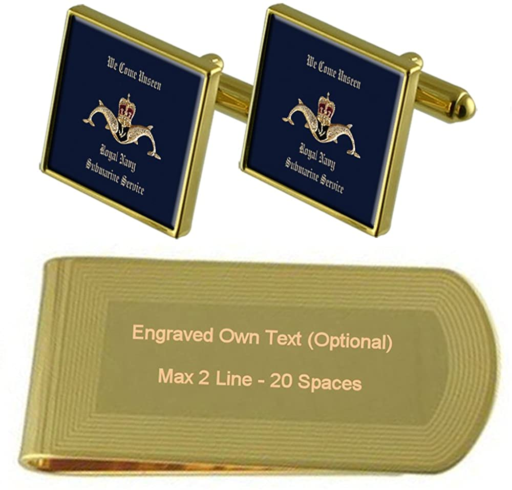 Submarine Service Badge Gold-tone Cufflinks Money Clip Engraved Gift Set