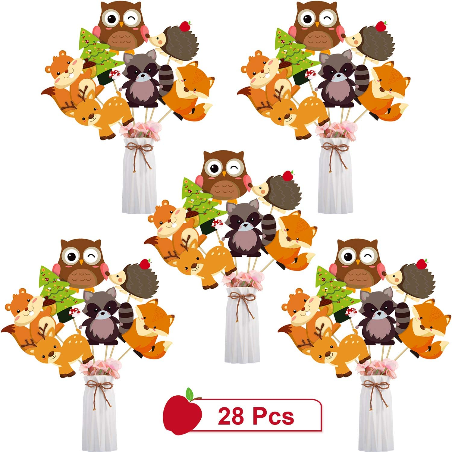 Blulu 28 Pieces Wooden Animal Party Decorations Wooden Animals Centerpiece Sticks Animals Cutouts Table Toppers for Theme Party Birthday Party Baby Shower Supplies (Wooden Animal)