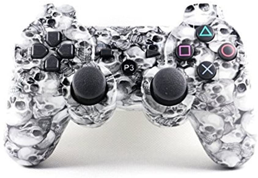 SongChao Wireless Bluetooth Double Vibration Remote PS3 Controller for Playstation 3. (skulls)