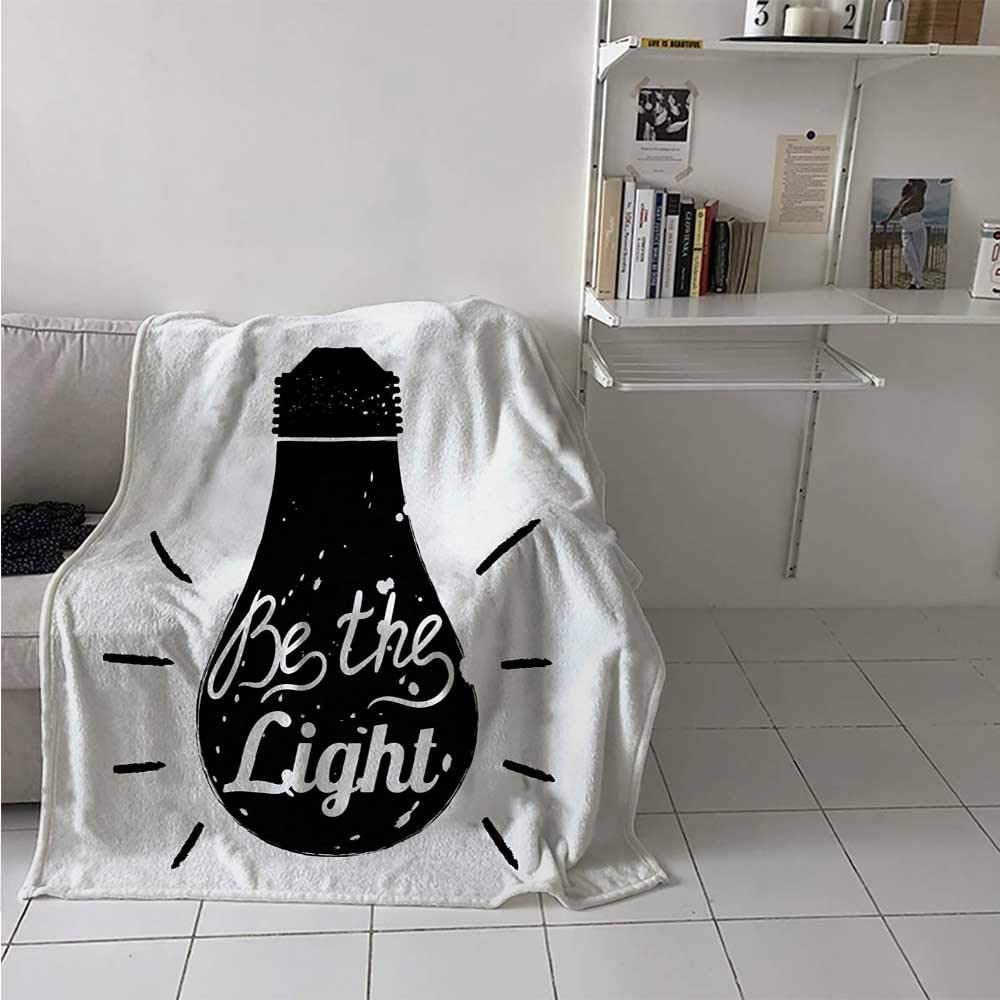 Breathable Blanket Calligraphy Lettering on Scribble Illustration of Black and White Home Appliance Luxury Bed Blanket Microfiber for Kid Baby Toddler Teenager Black and White 54 x 84 Inch