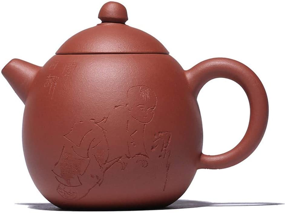Bin Zhang Teapot ore clear cement dragon egg semi-manual pot small pot teapot (Color : Red)