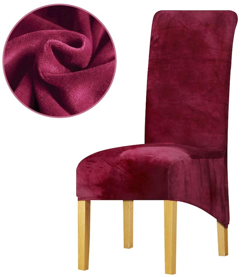 Leorate Large Size Dining Room Hotel Fabric Velvet Stretch Chair Slipcover Wine 2 Pieces