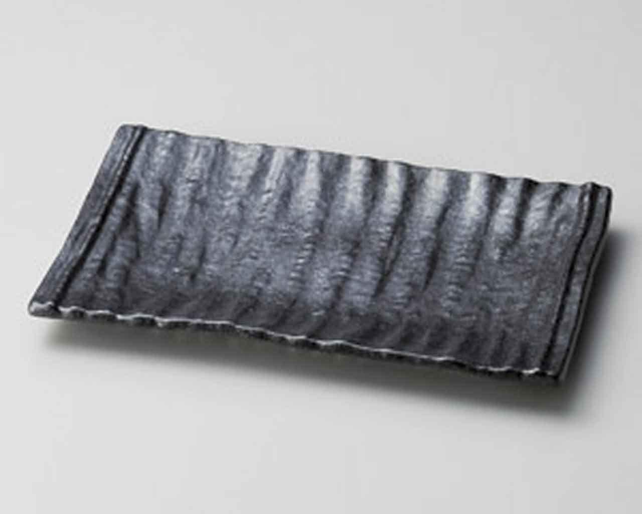 Ibushi Black 13.1inch Long Plate Black porcelain Made in Japan