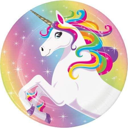 Unicorn Rainbow 7 Dessert Plates ~ set of 10 plates