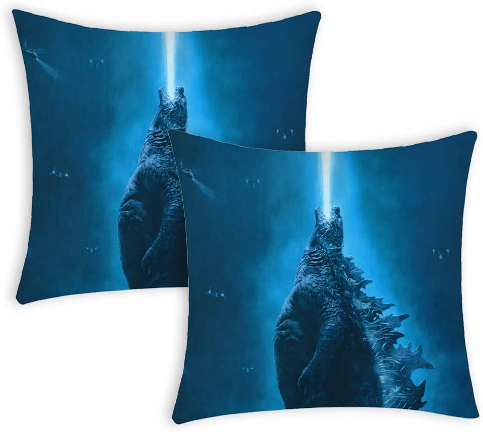 Macofcust Godzilla Pillowcase, Godzilla King of The Monsters Theme Throw Pillow Covers Decorative Pillows for Sofa Couch Bedroom Home Decor 2 PCS 18 x 18 Inch Blue