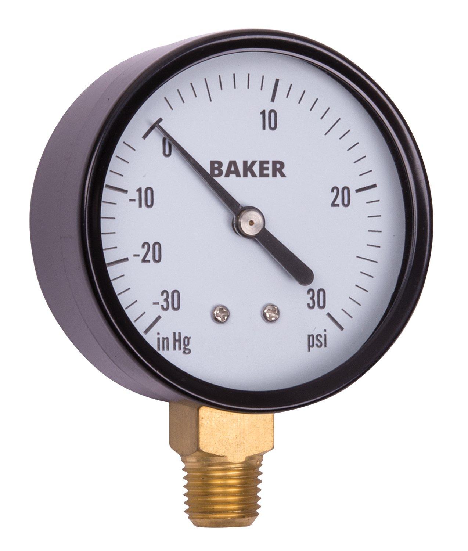 Baker Instruments LVBNA Series Stainless Steel Vacuum Pressure Gauge, -30 to 30 inHg / psi , 2.5