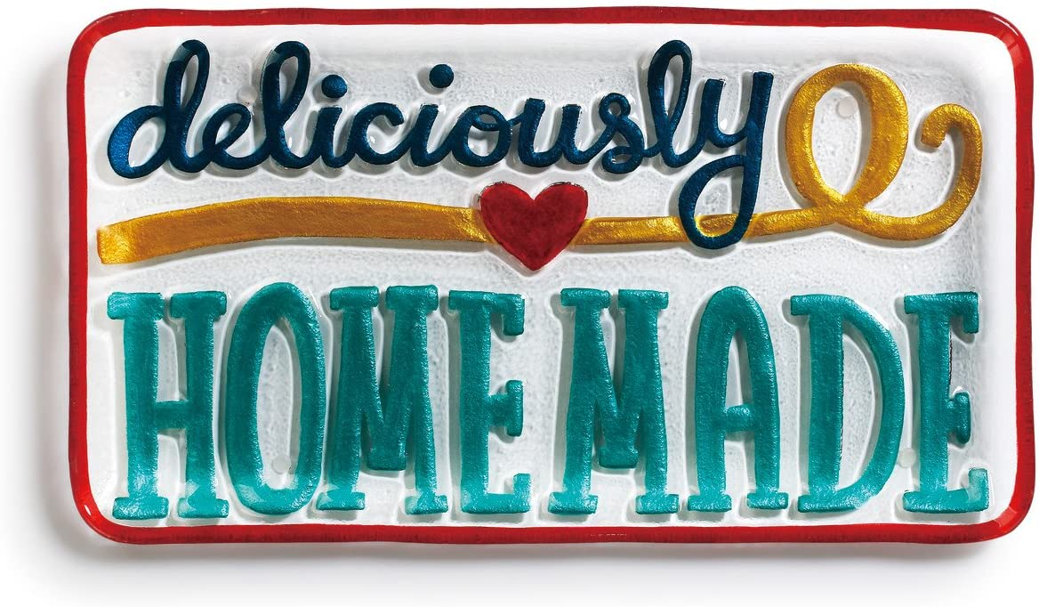 Deliciously Homemade Heart Blue and Red 15 x 8 Glass Rectangular Platter
