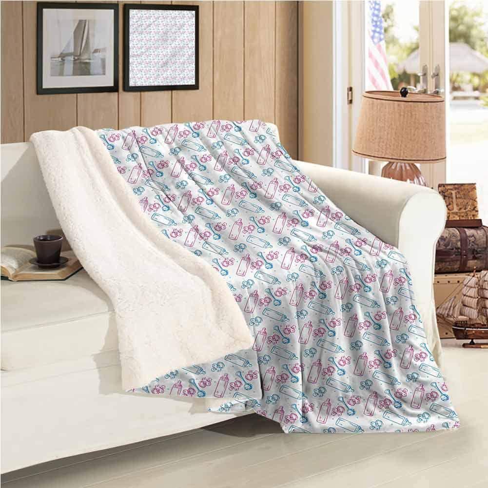 Fleece Blanket Sofa Chair Blanket Milk Bottles Pacifiers Warm Blanket Full Size Plush Microfiber, Suitable for Baby Bed W59 xL47