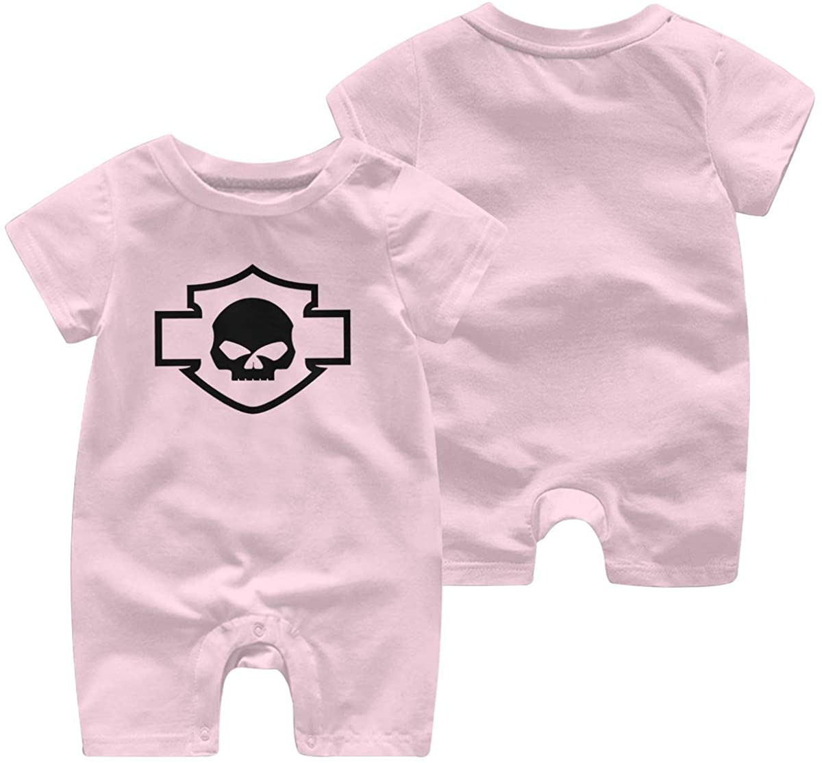 Harley Davidson One Piece Outfits Baby Solid Color Rompers with Button Kids Short Sleeve Playsuit Jumpsuits Cotton Clothing 0-3 Months Pink