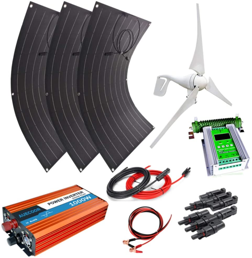 AUECOOR 700W Hybrid System Kit: 400W Wind Turbine Generator & 3pcs 100W Flexible Solar Panel + 1000W Pure sine Wave Inverter+Accessories for RV,Boat Cabin Home