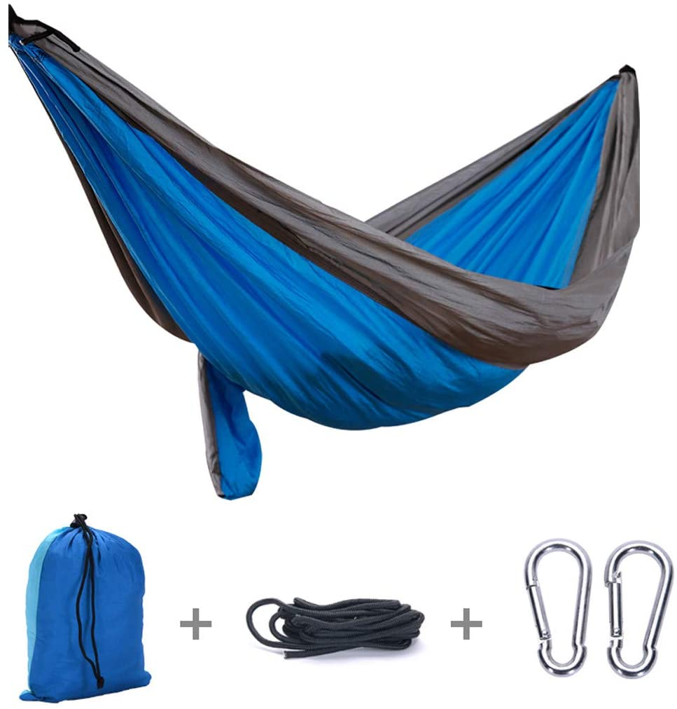NNCTA Hammock Camping Single & Double with Tree Straps & Carabiners | Easy Assembly |Lightweight Portable Parachute Nylon Hammock for Camping, Backpacking,Travel/Weight Capacity 661lb