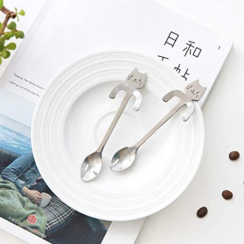 Cute Cat Spoon, Long Handle Spoons,Flatware Drinking Tools Kitchen Gadget,Stainless Steel Dessert Cake Coffee Spoon Cutlery,Coffee Spoons Soup Spoons, Creative Coffee Spoon, Fashion Spoons (1pc)