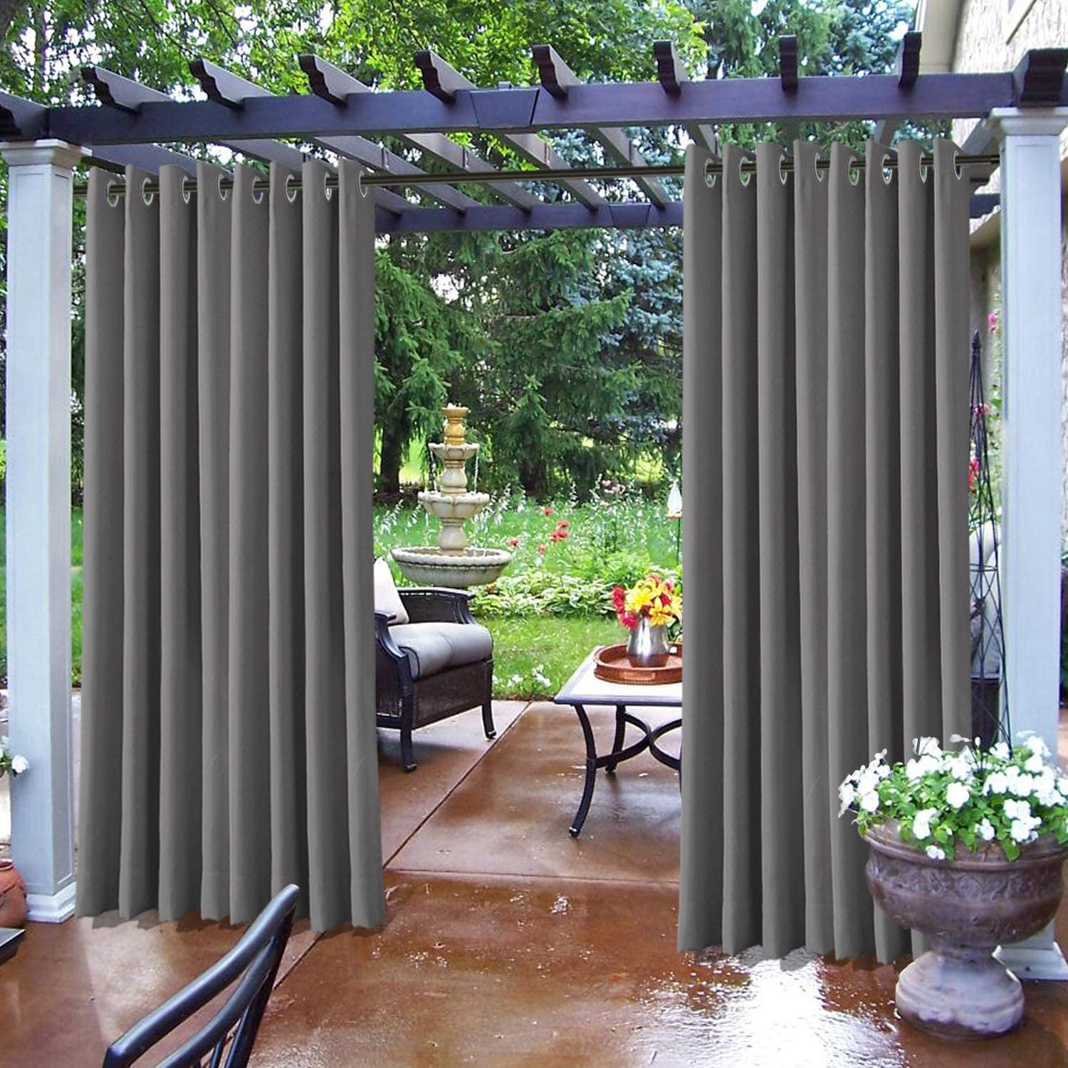 Frelement Outdoor Drapes Waterproof Window Curtains for Patio Cabana Rustproof Grommet 84W x 84L (1 Panel) Privacy Shade Lightproof Thermal Insulated Draperies Grey