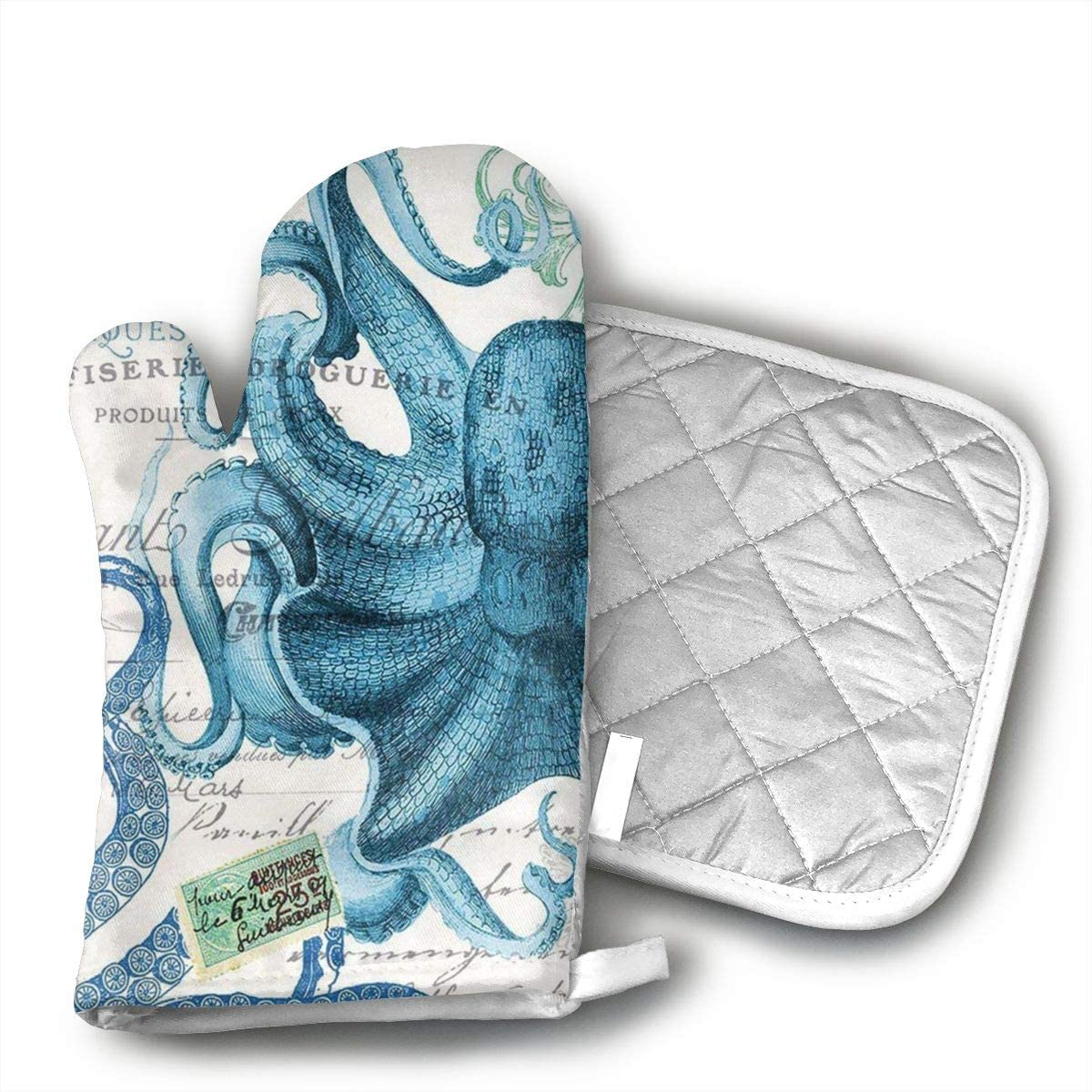 Octopus Oven Mitts and Potholders (2-Piece Sets) - Kitchen Set with Cotton Heat Resistant,Oven Gloves for BBQ Cooking Baking Grilling