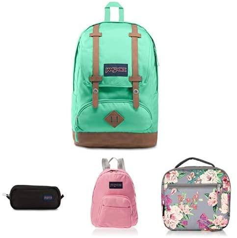 JanSport Back to School Backpack Bundle-Cortlandt, Large Pencil Pouch, Half Pint, Lunch