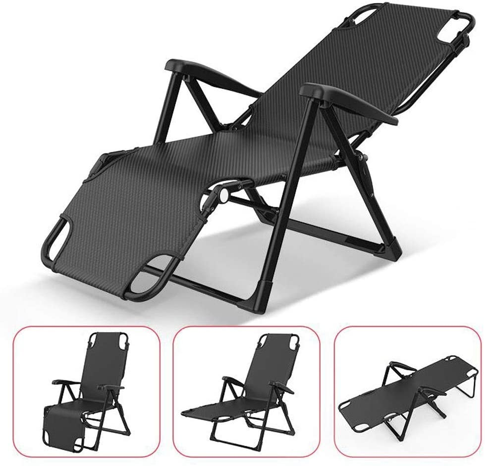 Patio Reclining Chairs Comfortable Zero Gravity Chaise Lounges, Patio Outdoor Folding Recliner, Beach Camping Portable Armchair Supports 200kg Sun Lounger (Color : Black)