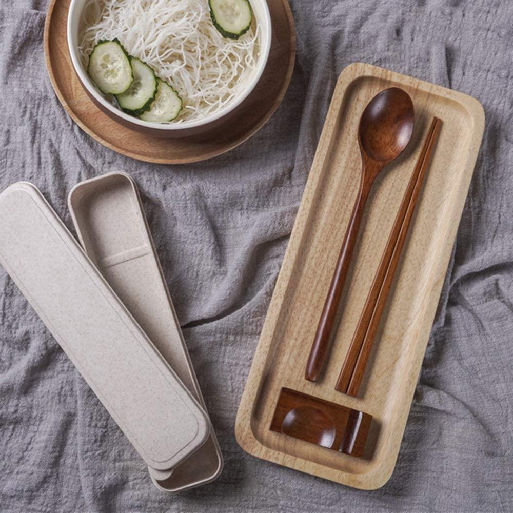 Mihaojianbing Chopsticks - Wood Chopsticks Set, Portable Tableware, Chopsticks Spoon Chopsticks Holder Box Set, Wear, Not Hot Polishing Technology