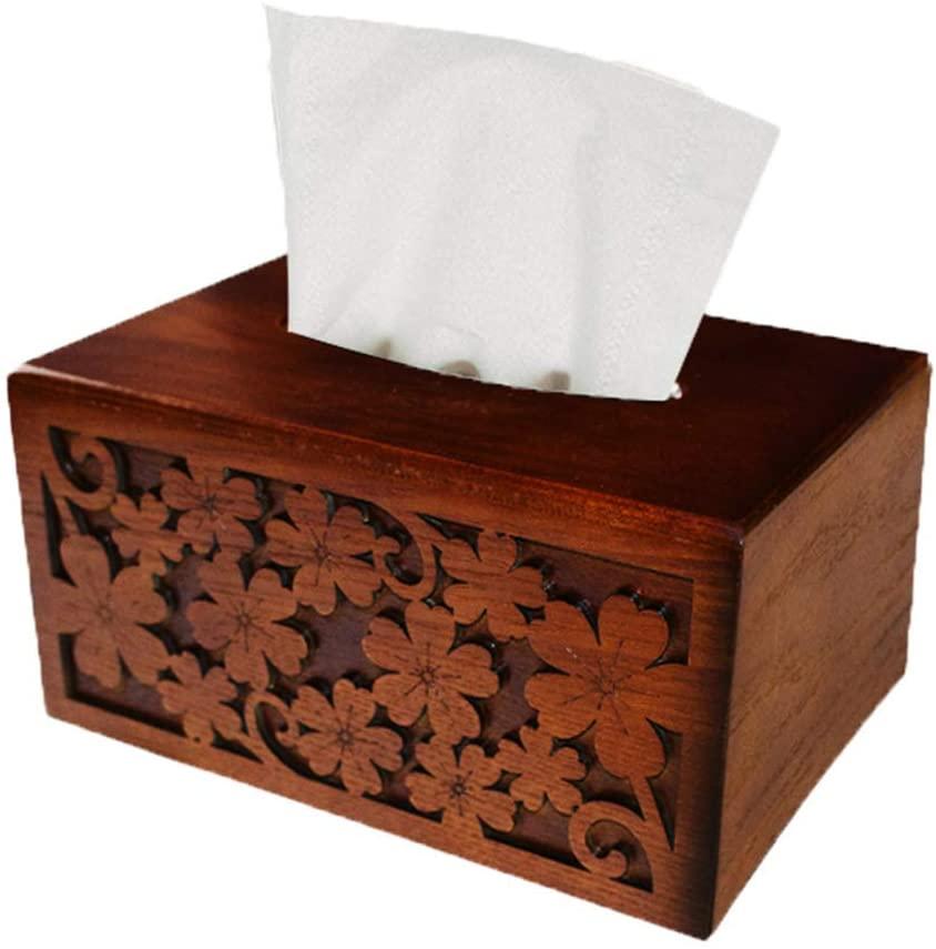 Tissue Box Retro Wooden Tissue Box Rectangular Toilet Paper Cover Holder Napkin Dispenser for Home Kitchen