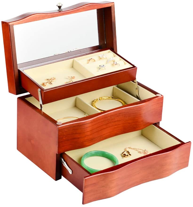Wooden Jewelry Box with Mirror and Drawer, Jewelry Storage Box for Rings Earrings Necklace and Bracelets, Brown
