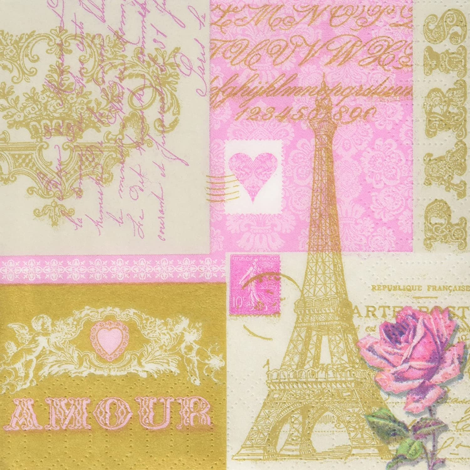Paperproducts Design 7845 PPD Paper Beverage Napkin, 5 by 5-Inch, Je t'aime Paris